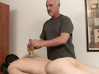 thin homosexual takes his uneasy  penis oiled and