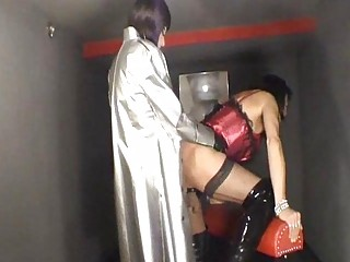 two surprising crossdressers licking and piercing