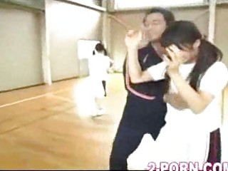 jap young slut does basketball practice handjob