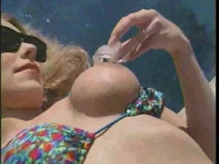 albino woman ripped by the swimmingpool