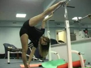 flexible gymnast obtains drilled