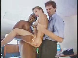 slutty assistant chick piercing with 2 boys into