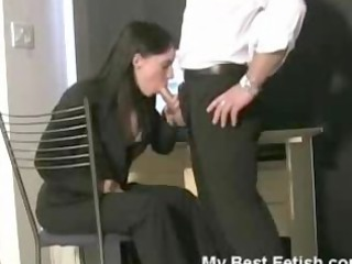 secretary caught licking on penis