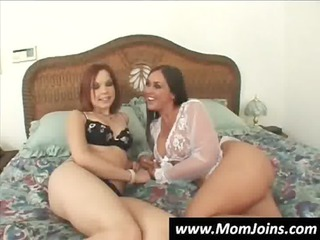milf and daughter share a dude