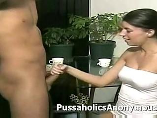 skank giving an aggressive milking handjob