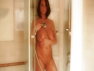 tanned brunette with fucking big breast enjoys