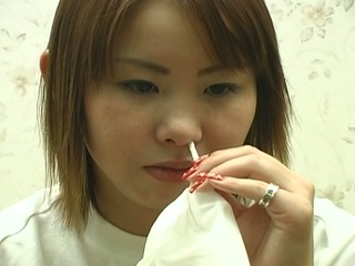 charming japanese teenager bizarre nose
