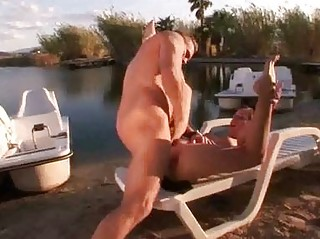naughty angelic brunette gives cock sucking on