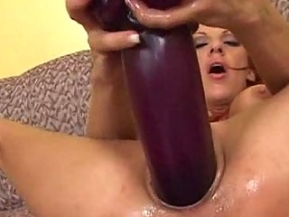 shannon inserting a lengthy brutal butt vibrator