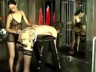 chick inside nylons bending to bench spanked by 2