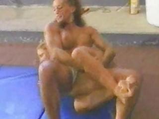 fitness models topless wrestling part 1