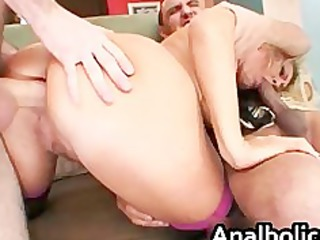 large anal bleached lady gets her bottom pierced