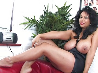 alluring ebony haired mature babe with giant