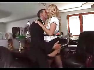 blond assistant drives inside pantyhose sm65
