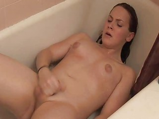 turned on brunette shemale pleases with her penis