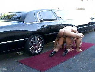 beefy driver banging his horny boss near her car