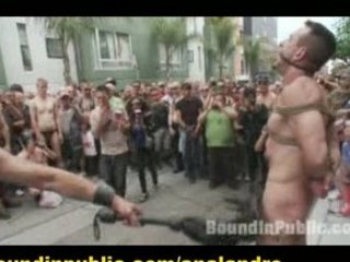 bound gay slave outside nude and humiliated on