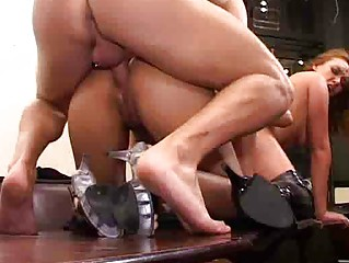 stunning high heeled booted chick into super