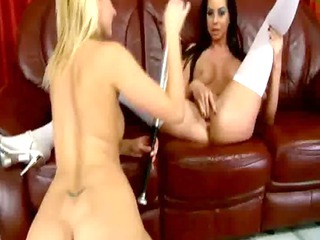 blondie bat piercing her brunette friend before
