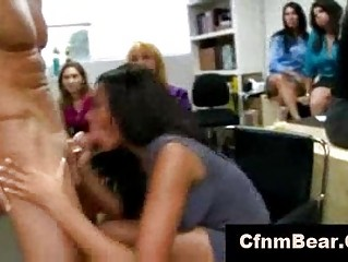 two cfnm strippers sucked by insane chicks at