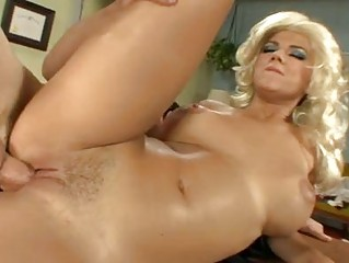 curly albino with giant chest takes her clean