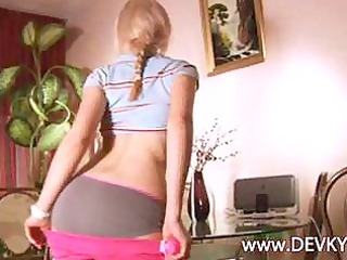 blond angel vika dancing and getting nude