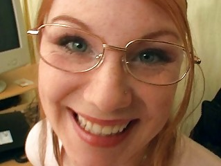 blond girl with the glasses having bunch  porn
