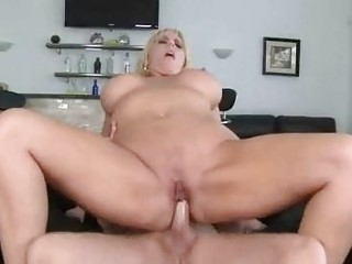 heavy blond momma with very big chest acquires