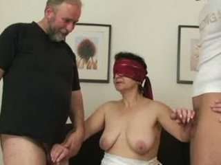 granny slut gets two dicks after kitty playing