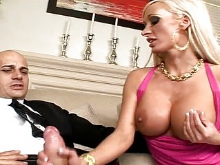 Blonde secretary sucking and fucking a dick