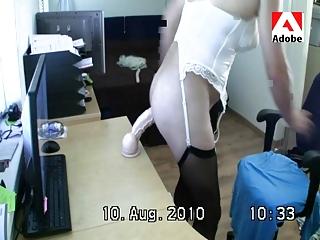 crossdresser (tvs travo) sylvia met plastic cock