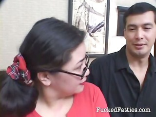 surprising fat eastern  lady with glasses