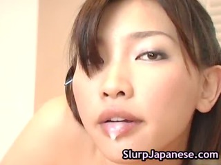 japanese bitch performs mad cock sucking