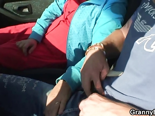 elderly whore is nailed into the car by a stranger