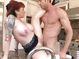 fat chested redhaired with drilled breast takes