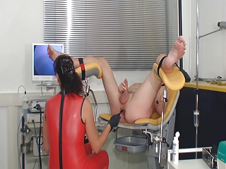 latex femdom arse exam and cockmilking till cum