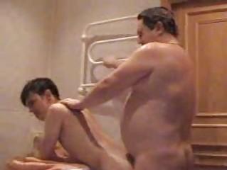 heavy gay daddy copulates his amateur twink into