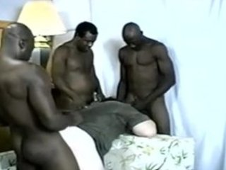 3 large ebony cocks for 1 colorless arse